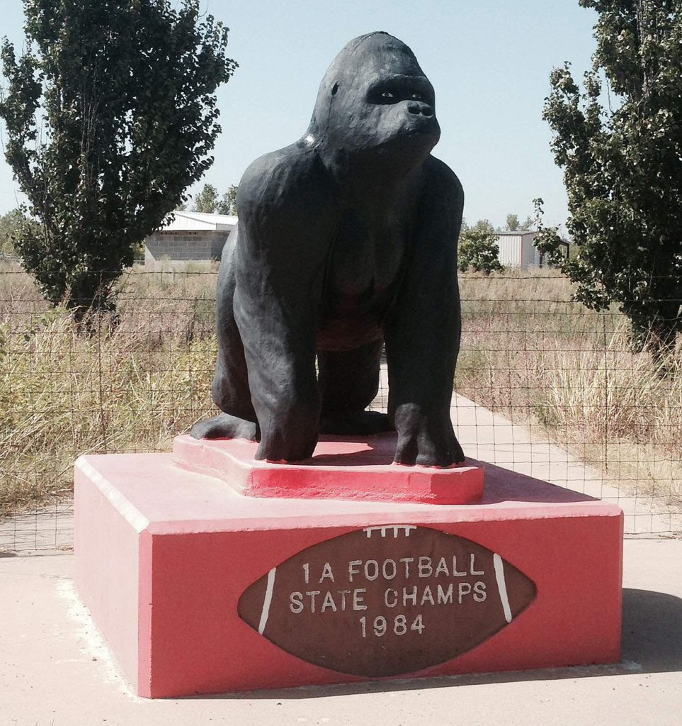 The Picher, Okla. football team were named state champions the year after the town was placed at the heart of the Tar Creek Superfund site. The mascot rests at the side of the road in the now mostly abandoned town. When school items were sold at auction, the statue was taken into Missouri for a short time, but the purchaser later returned it. (Lynda Waddington/The Gazette)