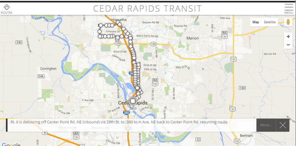 A screen shot from rideCRT.com shows Cedar Rapids Transit Route 6. The website and companion app are supposed to show real-time data on city buses. In this screen shot, an alert announces that the Route 6 bus, represented by the circle and square at the bottom of the route, is diverting. The map, however, is not updated to reflect the change.