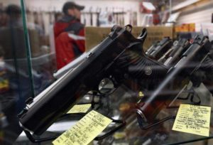 A display of 7-round .45 caliber handguns are seen at Coliseum Gun Traders Ltd. in Uniondale, New York January 16, 2013. (REUTERS/Shannon Stapleton)