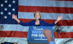 Massachusetts Sen. Elizabeth Warren celebrates on election night. (Elizabeth Warren/Flickr)