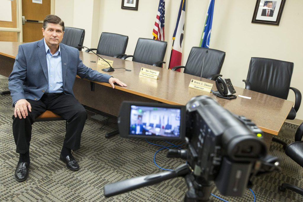 Linn County Auditor Joel Miller began recording county supervisors meetings on Tuesday, April 21, 2015. Photographed in the informal board room of the Jean Oxley Linn County Public Service Center in Cedar Rapids. (Liz Martin/The Gazette)