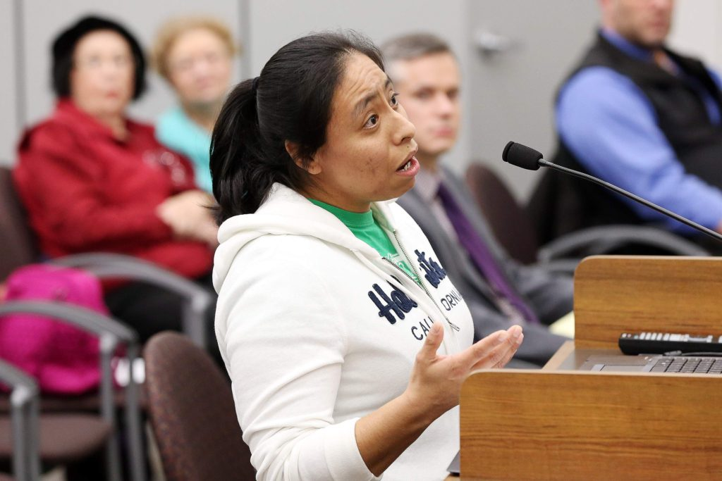 Elizabeth Bernal of Iowa City addresses the city council in support of sanctuary city status during a city council public comment period at the Iowa City City Hall following a work session on the prospect of becoming a sanctuary city on Tuesday, Jan. 3, 2017. (Liz Martin/The Gazette)