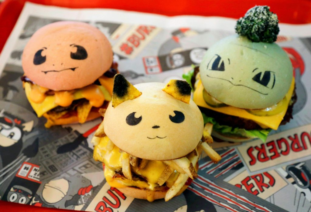 okeburgs, hamburgers in the form of Pokemon characters, are seen at Down N' Out Burger restaurant in Sydney, Australia, August 26, 2016. The restaurant sells a limited number of Pokeburgs per day, with the names (L-R) Chugmander, Peakachu and Bulboozaur, capitalizing on fans' appetite for Pokemon Go, the location-based augmented reality game. (Jason Reed/Reuters)