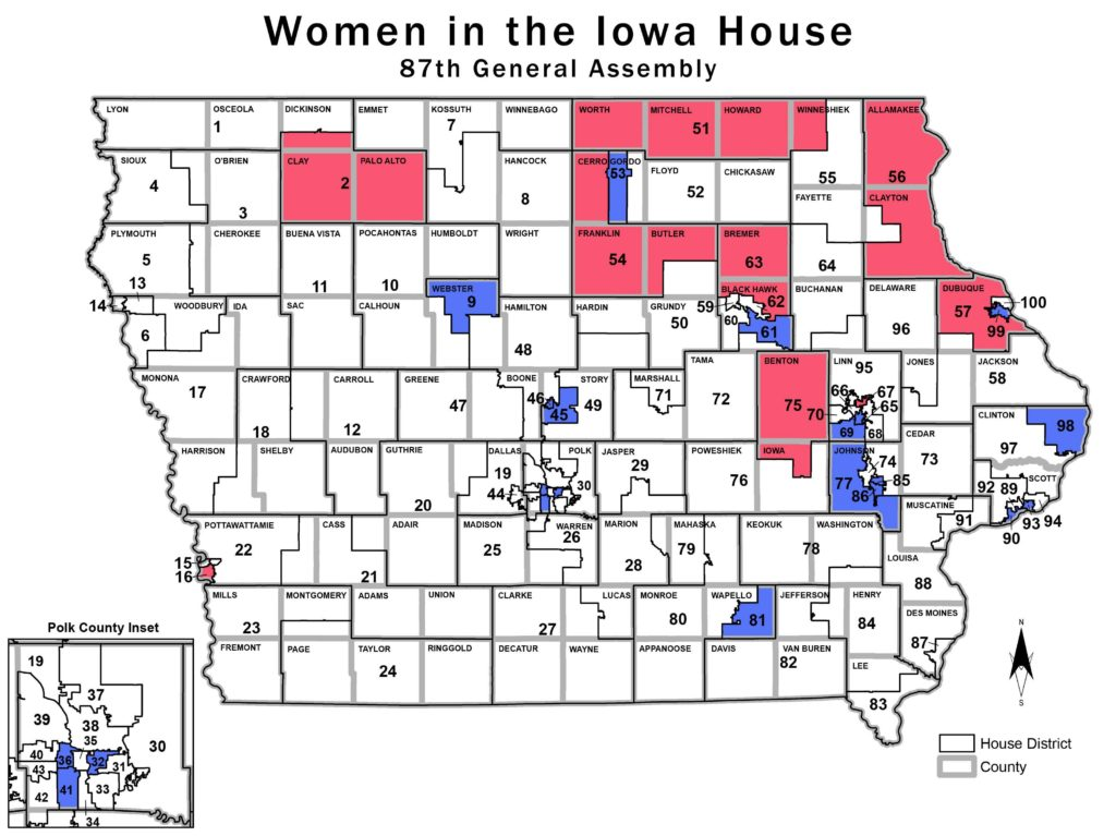Iowa women were able to maintain their number in the Iowa House for the upcoming 87th General Assembly. (Blank map source: Legislative Services Agency)