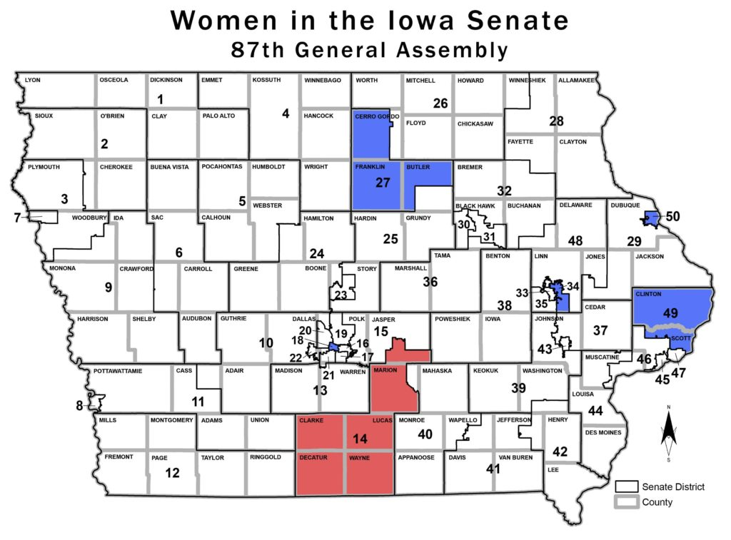 Only six women will serve in the Iowa Senate when it convenes in January. It's a decrease of one from the current General Assembly. (Blank map source: Legislative Services Agency)