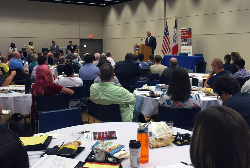 U.S. Secretary of Agriculture Tom Vilsack presented a lunch-hour keynote address to attendees of the LGBT Rural Summit at Drake University in Des Moines on Aug. 18, 2016. (Lynda Waddington/The Gazette)
