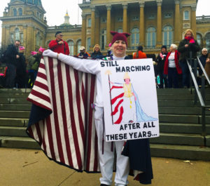 "Molly Ketchum participated in the Iowa Women's March at the Statehouse in Des Moines on January 21, 2017 ""in honor of all the brave suffragettes"" who worked tirelessly for equal rights."