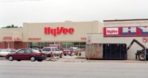 This Gazette file photo shows new Hy-Vee construction (left) on 1st Avenue in Cedar Rapids as well as the remnants of the old store (right) before it was demolished.