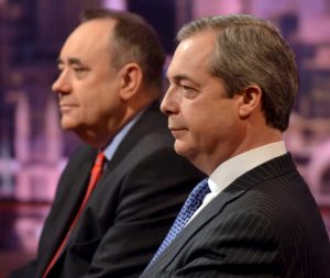 UKIP - Alex Salmond (L), former leader of the Scottish National Party, and Nigel Farage, the leader of the United Kingdom Independence Party (UKIP), sit next to each other as they attend the Andrew Marr Show on the BBC, in central London on March 22, 2015.