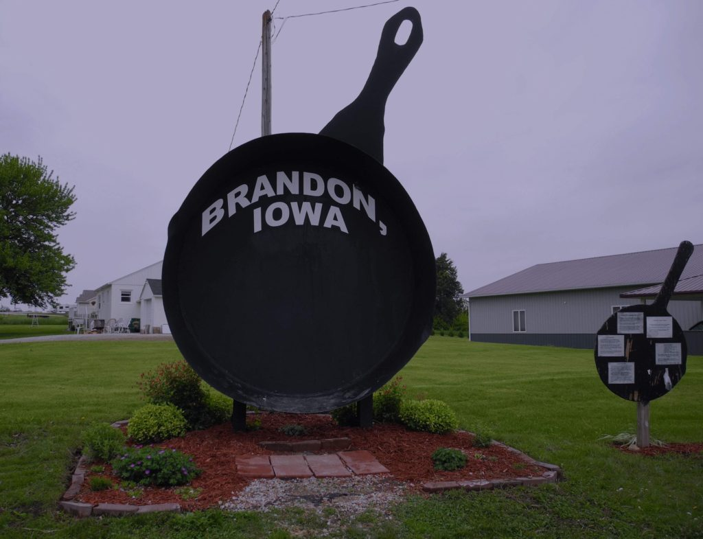 "Iowa's Largest Frying Pan stands in the small community of Brandon. It was built in 2004 by locals out of donated scrap metal, a promotional tool for the community's ""Cowboy Breakfast"" fundraiser. (Lynda Waddington/The Gazette) -- Iowa Culture app"