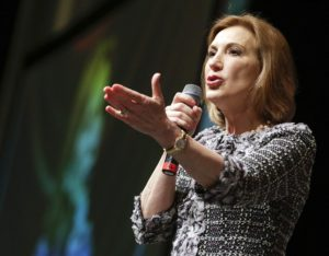 Former chief executive officer of Hewlett-Packard Carly Fiorina is the keynote speaker during the Iowa Women Lead Change Eastern Iowa Conference at the DoubleTree by Hilton Convention Complex in northeast Cedar Rapids, Iowa, on Wednesday, April 22, 2015.