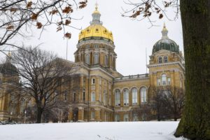 The Iowa State Capitol building is seen after short snow storm the day after the caucuses in Des Moines on Tuesday, Feb. 2, 2016.