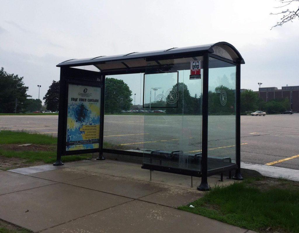Sheltered bus stops are located on the Kirkwood Community College campus in Cedar Rapids. This bus stop is near the main entrance, on 66th Ave SW just off Kirkwood Blvd., and services Route 7. Photographed on May 9, 2016. (Lynda Waddington/The Gazette)