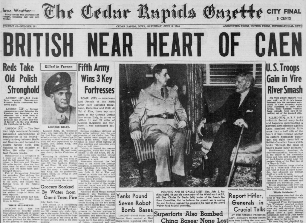 The July 8, 1944 front page of The Gazette carried news of the combat death of Leonard L. Kelly. Although the soldier was buried in Cedar Memorial Cemetery in Cedar Rapids in 1949, it was only this year that his grave was marked with a military headstone.