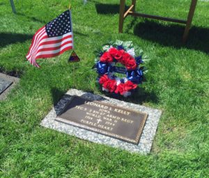 Decorations were placed at the grave of Sgt. Leonard L. Kelly following a community memorial service on May 4, 2016. Kelly lost his live in 1944 during World War II, and was buried in Cedar Rapids in 1949. The grave went unmarked for more than 60 years until concerned citizens and veterans groups came together this year. (Lynda Waddington/The Gazette)