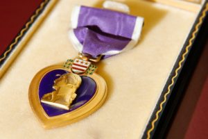 World War II veteran Leonard Kelly's Purple Heart medal is shown in Cedar Rapids on Tuesday, April 19, 2016. Kelly is believed to be the only Cedar Rapidian who was killed on Normandy Beach.
