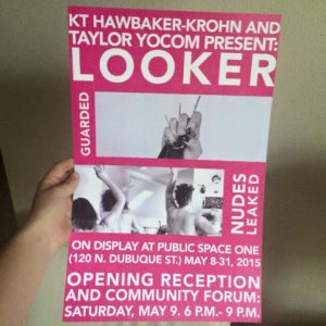 "A brochure for the collaborative ""Looker"" exhibit and community forum at Public Space One in Iowa City tonight, May 9."
