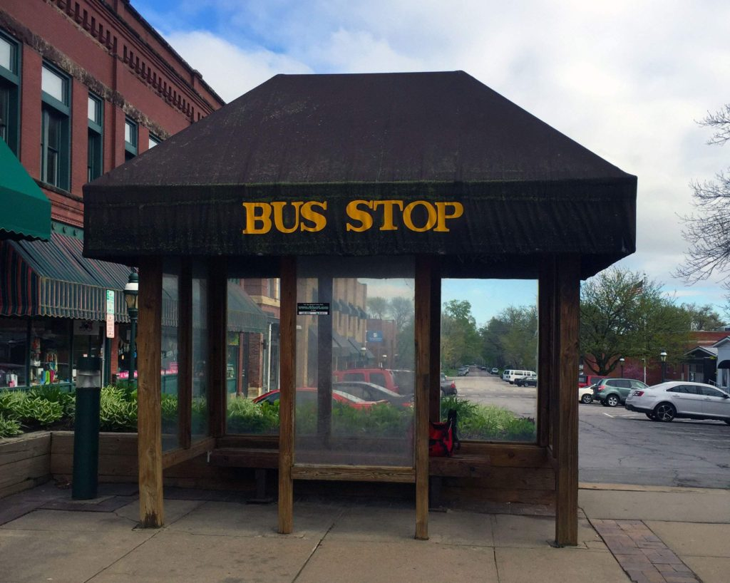The sheltered bus stop in Marion Square, uptown Marion on May 2, 2016. (Lynda Waddington/The Gazette)