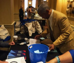 National delegate Paul Gandy of Fairfield checks in for the Iowa delegation breakfast on July 25, 2016 in Philadelphia.