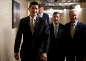 U.S. Representative Paul Ryan (R-WI) (L-R), Representative Jeb Hensarling (R-TX) and Representative Tom Price (R-GA) arrive for a House Republican caucus meeting at the U.S. Capitol in Washington October 21, 2015. Republican right-wingers are not ready to back Ryan for speaker of the U.S. House of Representatives, an Arizona lawmaker, who belongs to the hard-right caucus that helped drive the last speaker from office, said on Wednesday.