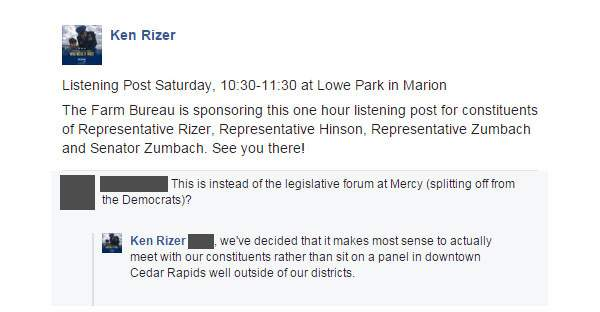 Rep. Ken Rizer, R-Cedar Rapids, announced on social media Tuesday that the Farm Bureau would be sponsoring an event for himself and other Linn County Republican lawmakers on Saturday. The event is scheduled at the same time as a nonpartisan League of Women Voters forum planned months ago that is open to all area lawmakers.