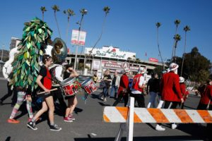The Stanford marching band arrives at the Rose Bowl in Pasadena on Thursday, Dec. 31, 2015.