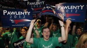 Supporters of the presidential campaign of former Minnesota Gov. Tim Pawlenty cheered as he spoke at the 2011 Iowa Straw Poll.