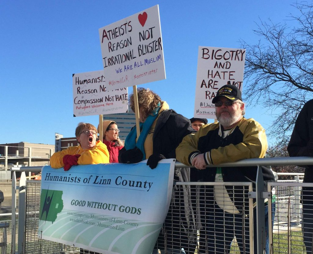 Humanists of Linn County members took part in a solidarity demonstration on Saturday, Dec. 19, that was organized by the Inter-Religious Council of Linn County. People of many faiths gathered on May's Island in a show of support for Muslims and other immigrants, who have recently been targeted in political rhetoric.