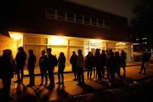 University of Iowa students line up for a Democratic Party caucus outside MacBride Hall on the University of Iowa campus in Iowa City on Monday, Feb. 1, 2016.