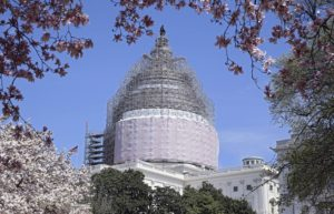 Work continues on the multi-year project to restore the dome of the United States Capitol building in Washington, DC on Thursday, Apr. 16, 2015.