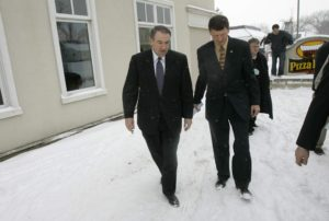 Republican Presidential hopeful and former Arkansas Gov. Mike Huckabee, left, walks with his then Iowa campaign chairman Bob Vander Plaats after speaking at a rally at Pizza Ranch in Pella in this 2008 caucus season file photo.