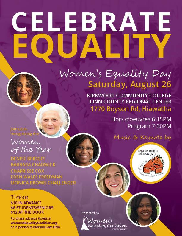 2017 Women's Equality Day Flyer for Linn County, Iowa.