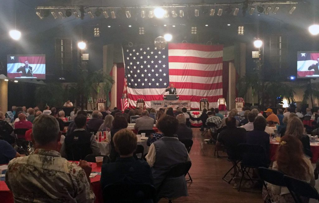 "Jason Kander, former Missouri secretary of state and Army National Guard captain, speaks to attendees at the 2017 Iowa Democratic Wing Ding in Clear Lake, Iowa on Friday, Aug. 11. Kander founded the ""Let America Vote"" organization after a narrow U.S. Senate election defeat in 2016 to Republican incumbent Roy Blunt. He has spoken at Democratic Party events throughout the country, urging candidates to say what they believe and engage with all voters. (Lynda Waddington/The Gazette)"