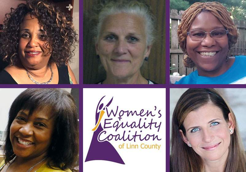 Those chosen as 2017 Women of the Year by the Women's Equality Coalition of Linn County are (beginning top left) Denise Bridges, Barbara Chadwick, Charrisse Cox, Monica Brown Challenger and Eden Wales Freedman.