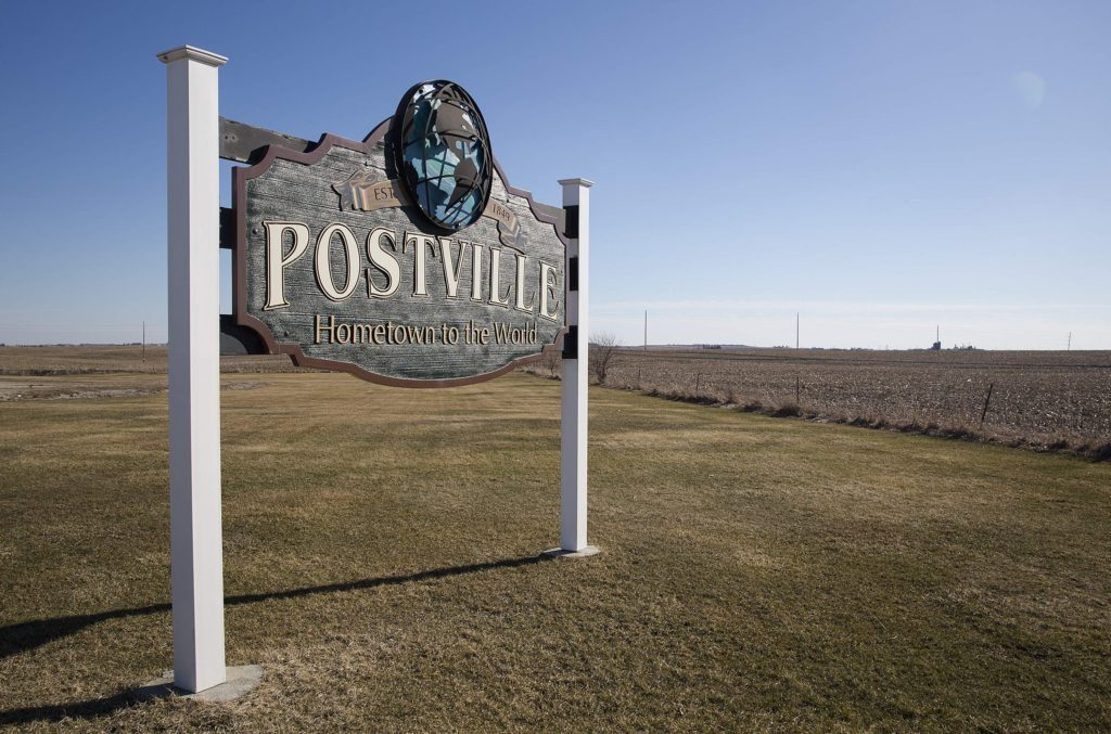 The welcome sign in Postville, Iowa on March 21, 2017.