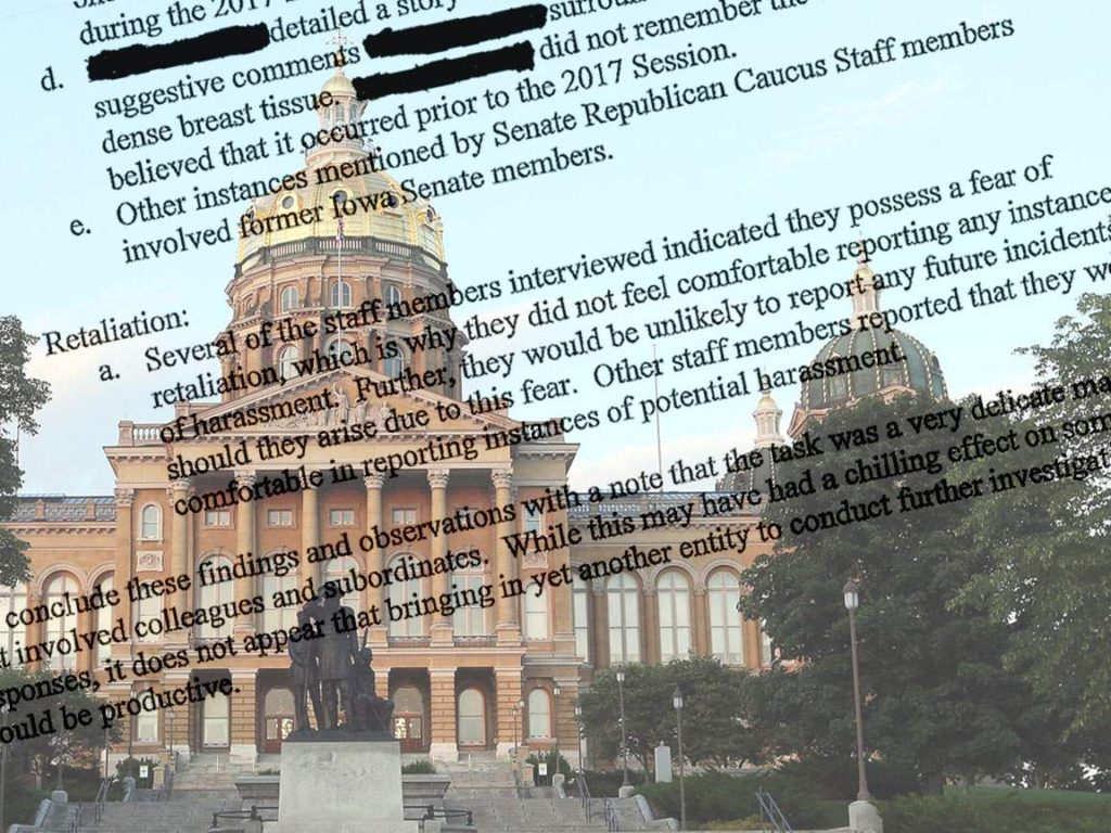 Sexual Harassment - A portion of the Iowa Senate GOP's internal investigation report atop a picture of the Iowa Statehouse.