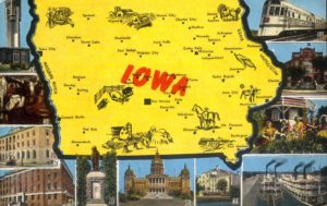 Old Iowa Postcard of state sites.