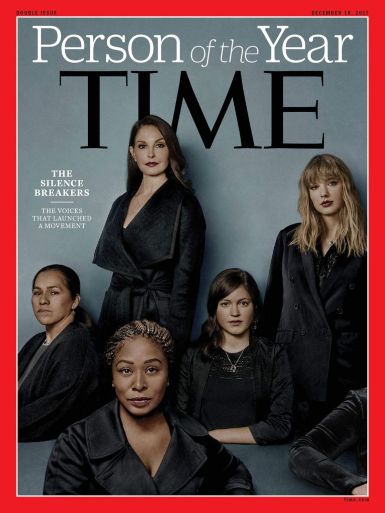 "On Wednesday, Dec. 6, 2017, Time magazine named the #MeToo movement or the ""Silence Breakers"" as the ""Person of the Year,"" a nod to the millions of people who came forward with their stories of sexual harassment, assault and rape. Ashley Judd, Susan Fowler, Adama Iwu, Taylor Swift, and Isabel Pascual (a pseudonym) are pictured. (Time Magazine)"