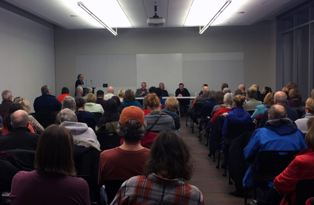 The first Know Your Neighbor religious discussion took place Monday, Jan. 8, 2018, before an over-flow crowd at the Cedar Rapids Public Library. It was organized by the Inter-Religious Council of Linn County.