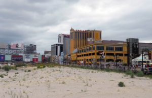 Trump Plaza, the white structure with red lettering in mid-frame, is one of four Atlantic City casinos to close this year.