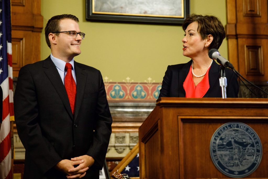 Immigration - Iowa Governor Kim Reynolds announces Adam Gregg as Lieutenant Governor Thursday, May 25, 2017, at the Iowa State Capitol in Des Moines.